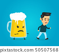 Angry evil glass of beer chasing a man.  50507568