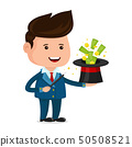 Businessman magician. A magic wand 50508521