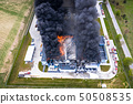 Aerial view of burnt industrial warehouse or 50508535