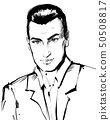 Handsome serious confident man portrait. Businessman in jacket black and white sketch 50508817