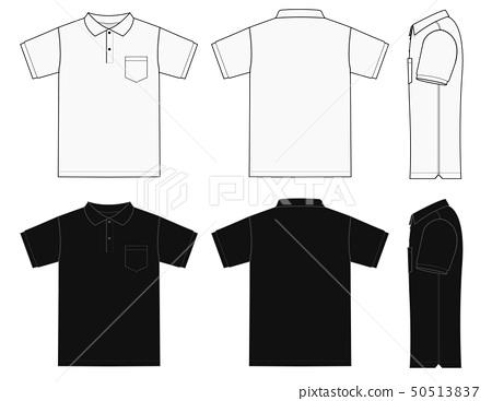 Short Sleeved Polo Shirt Mockup Template Set Stock