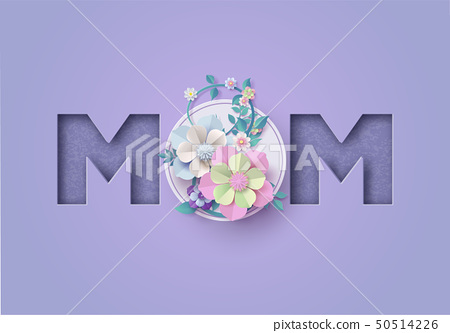 Happy Mother's day greeting card Paper cut 50514226