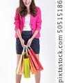 Woman in Trendy clothes with a lot of shopping bag 50515186