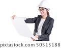 Businesswoman engineer opening paperwork. 50515188
