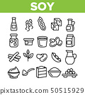 Soy Products, Food Linear Vector Icons Set 50515929