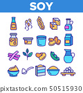 Soy Products, Food Linear Vector Icons Set 50515930