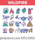 Wildfire, Bushfire Vector Thin Line Icons Set 50515956