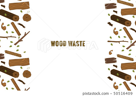 Line style icon collection - wood waste elements.  50516409