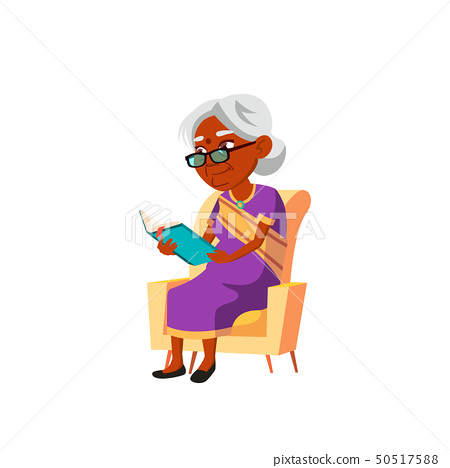 Indian Old Woman Vector. Elderly People. Senior Person. Isolated Cartoon Illustration 50517588