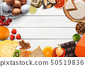 Set of allergic food isolated on white wood 50519836