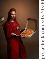 female, pizza, woman 50520500