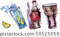 Fresh and cold soft drinks. Watercolor background illustration set. Isolated beverage illustration 50525059