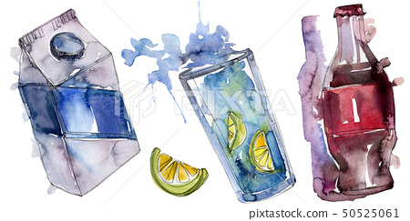 Fresh and cold soft drinks. Watercolor background illustration set. Isolated beverage illustration 50525061