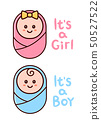 It's a Girl,Boy card. Baby shower greeting  50527522