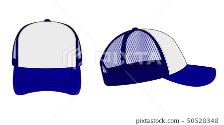 Mesh cap template illustration (front / side) / white / blue 50528348