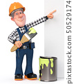Builder working in overalls with a poster 50529174