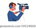 Cameraman shooting the film scene with his camera on white background 50529600
