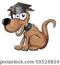 dog mascot character with Graduation cap hat 50529834