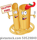 pasta food , Cute cartoon character with signboard 50529840
