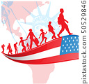 USA flag with immigration people on american 50529846