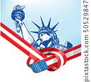 USA flag with statue of liberty. vetcor 50529847
