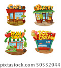 Set of four vector buildings of cafe, bakery, farm shop and Ice cream shop 50532044