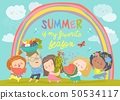 Cartoon children with flowers and fruits. Hello summer 50534117