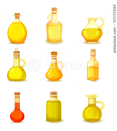 Set of isolated jars or bottle with oil product 50535694