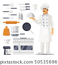 Set of isolated kitchen utensil and cook with hat 50535696