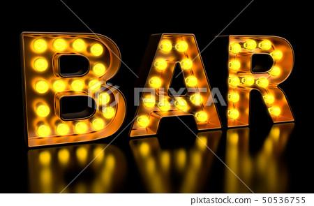 Bar signboard from golden light bulb letters 50536755