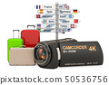 Travel concept with camcorder, 3D rendering 50536756