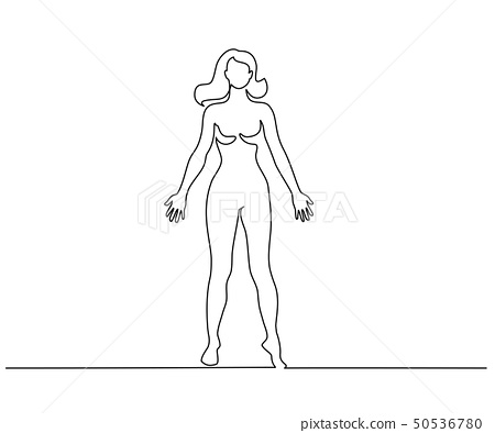 Woman standing in anatomy position Continuous line 50536780