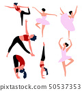 Set of ballet dancers isolated on white. Vector . 50537353