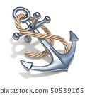 Steel anchor with rope 3D 50539165