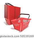 Red plastic shopping baskets 3D 50539169