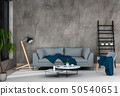 interior living room wall concrete with sofa 50540651