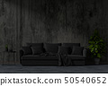 living room concrete wall with sofa in darkness 50540652