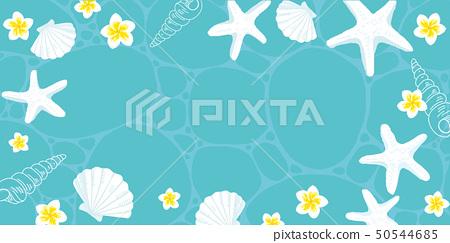 海和貝殼海洋框架背景例證 50544685