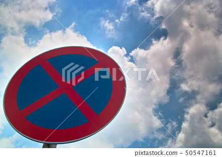 Traffic sign of no stopping 50547161