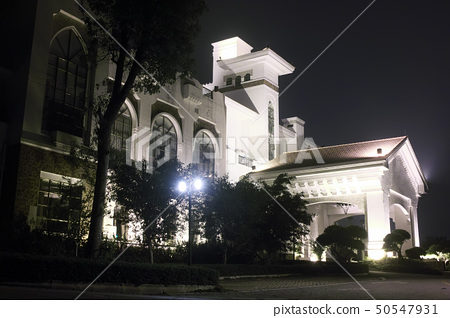 Hotel building night scene 50547931