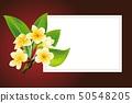 Golden frangipani or plumeria flowers with leaves. Vector invitation Postcard 50548205