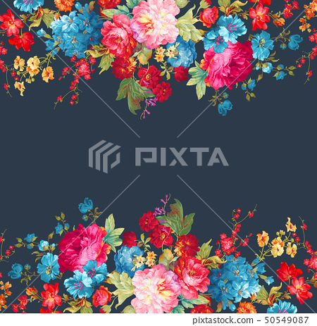 顏色豐富的邀請卡設計和花卉 50549087
