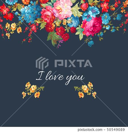 顏色豐富的邀請卡設計和花卉 50549089