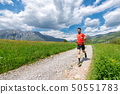 Ultra trail runner athlete prepares on a dirt road 50551783