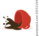 Hot Spilled coffee red cup vector 50553104