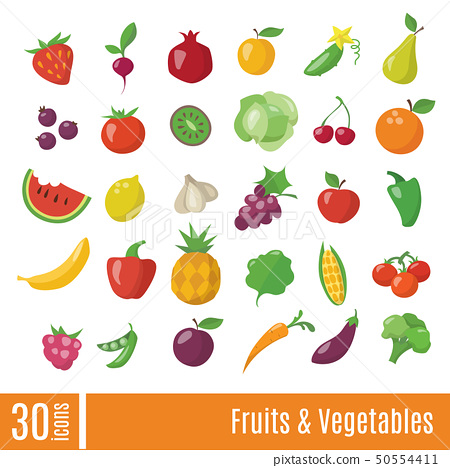 Fruits and Vegetables infographic icons set in flat style 50554411