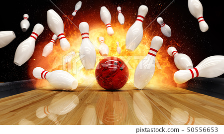 Bowling strike hit with fire explosion 50556653