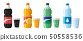 set of plastic bottle of water and sweet soda with glasses. Flat vector water soda icons 50558536