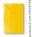 Closed yellow blank book isolated on white 50558748