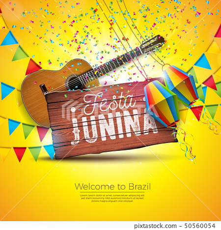 Festa Junina Illustration with Acoustic Guitar, Party Flags and Paper Lantern on Yellow Background 50560054